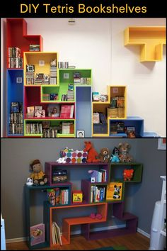 This Tetris Themed Bookshelf Doesn't Only Look Cool, But is Also a Great Storage Solution Tiny House Closet, Tiny House Bathroom, Kids Furniture, Furniture Making, Bookshelves, Bookcase, Shipping Container Home Builders, Tiny House Appliances, Home Storage Solutions