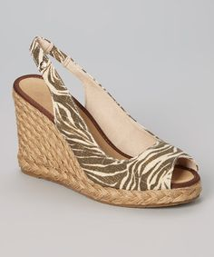 Loving this Taupe Zebra Rimini Espadrille on #zulily! #zulilyfinds