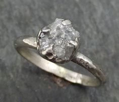 Raw Rough Uncut Diamond Engagement Ring Rough Diamond Solitaire 14k white gold Conflict Free Diamond Wedding Promise byAngeline 0379