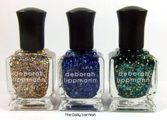 The glitter polishes from the new Deborah Lippmann Jewel Heist collection! (Glitter and Be Gay, Va Va Voom and Shake Your Money Maker)