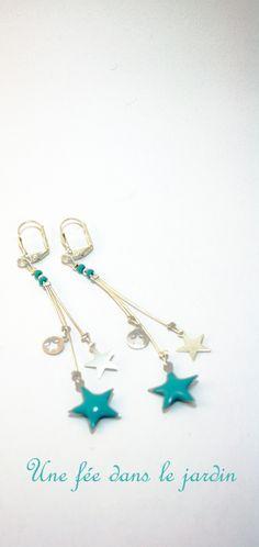 Idée cadeau fête des mères boucles d'oreilles bohème étoile argent et vert turquoise Cosmos : Boucles d'oreille par une-fee-dans-le-jardin