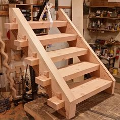 "1,936 Likes, 25 Comments - Brian Benham (@benham_design) on Instagram: ""1st section of Timber frame stairs mocked up and ready for install. #timberframing #woodworking…"""