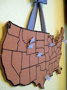 I call this the interactive, travel, pin up map! This map creates a fun, cute way to track your travels across the wonderful USA! All you need is a cork board from Good Will ($2.99), pencil, sharpie, ribbon, pins, stapler, and a Dremel [the fun, hand held power tool that cuts through e v e …