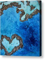 Love Heart Reef Painting by Georgia  Mansur - Love Heart Reef Fine Art Prints and Posters for Sale