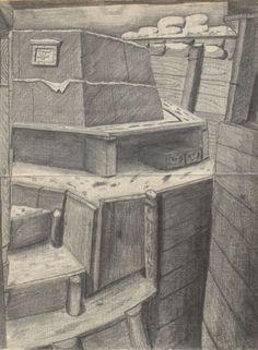 [Quartier], Bleistiftzeichnung: Detailansicht eines Bereiches in einem Raum [Materiallager]. Bestand 192-31, Nr. 46.