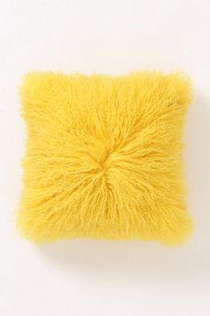Luxe Wooly Pillow, Yellow #anthropologie
