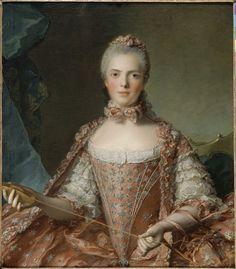 Marie-Adélaïde de France, dite Madame Adélaïde, faisant des noeuds - Témoignage des activités manuelles auxquelles se livrait Madame Adélaïde et ses soeurs, ce portrait gracieux et élégant est avant tout une effigie d'apparat. La fille de Louis XV marque ainsi la domination qu'elle exerce à Versailles auprès de ses proches et son ambition d'étendre son hégémonie. Ce portrait fut placé dans l'appartement de Madame Victoire, soeur de Madame Adélaïde, à Versailles. J.T.<br>Ce tableau cha...