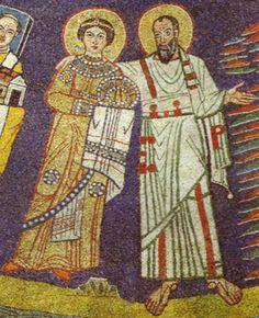 Mosaic details of Saints Praxedes and Paul, Santa Prassede, Rome, AD930-40