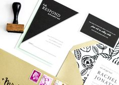 Oh So Beautiful Paper: Bold Black and White Floral Wedding Invitations