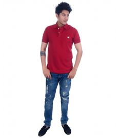 Grey Booze Maroon Slim Fit Polo T Shirt