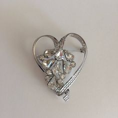 Vintage Sterling Heart Brooch Prongset Rhinestones, Valentine's Day Gift, Sterling Silver Brooch, Heart Shaped Jewelry by MyVintageApartment on Etsy