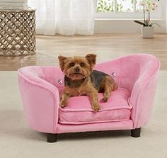 Dog Couch Bed Luxury Elevated Pet Sofa - Deluxe Crystal Tufted Therapeutic Comfort in Pink - Best for Small Dogs with Removable, Washable Cover Bundle w Rope Toy * Details can be found by clicking on the image. (This is an affiliate link) #Catbedsandfurniture