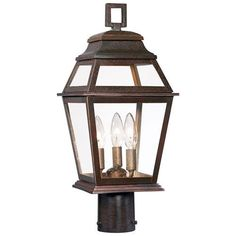 Crossroads Point Architectural Bronze Three Light Outdoor Post Mount Minka Lavery Post Mou