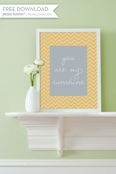 Free PDF download for this cute yellow Chevron sign. Can't get much easier!