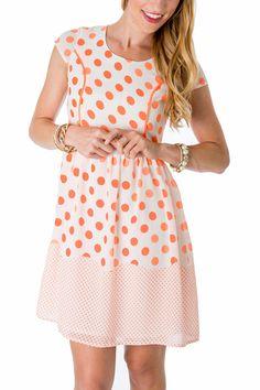 Bright Orange Polka Dot Dress