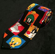 """Looney Tunes Mania 1993 Warner Brothers Characters 62"""" Polyester Mens Neck Tie #LooneyTunes #Tie #1993 #vintage #mania #warnerbros #characters #necktie #90s #unique #geometric #shapes #colors #tweety #bugsbunny #Sylvester #daffy #marvinthemartian #fashion #style #collector #collection #father #man #guys #men #gag #gift #funny #happy #wear #work #office #attire #comedy #twitter #ebay #facebook #Instagram #ooooitsleah"""
