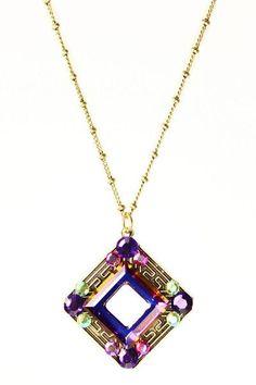 Anne Koplik Designs Swarovski Crystal Open Square Pendant Necklace - AVOL