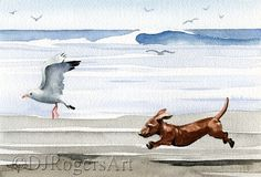 DACHSHUND At The Beach Art Print Signed by by k9artgallery on Etsy, $16.50