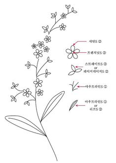 Floral Embroidery Patterns, Hand Embroidery Stitches, Hand Embroidery Designs, Cross Stitch Embroidery, Flower Line Drawings, Simple Line Drawings, Embroidery For Beginners, Embroidery Techniques, Broderie Simple