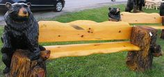 chainsaw carved bench