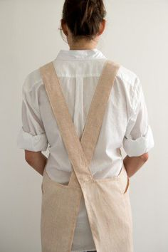 Cross Back Apron in Watercolor Linen | Purl Soho - Create