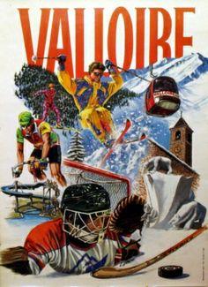 Valloire, 1980s - original vintage poster by C Bolon listed on AntikBar.co.uk