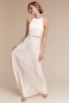 minimal crepe bridesmaid dress | Iva Crepe Maxi Dress from BHLDN