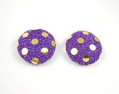 Purple and Gold Earring Studs