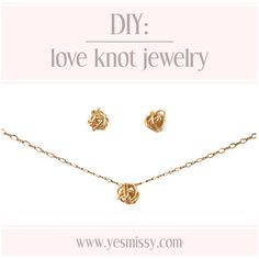 DIY Love Knot Earrings & Pendant Tutorial - Cute. I like the necklace better than the earrings.