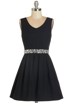 Sophisticated Spirit Dress. This black fit and flare combines your professional finesse with your fun personality! #black #prom #modcloth