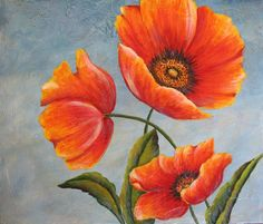 Here is a trio of wonderful California Poppies. Bright orange-yellow poppies against a azure blue sky create a wonderful, cheerful painting that Watercolor Flowers, Watercolor Paintings, Poppies Painting, Large Abstract Wall Art, Picasso Paintings, California Poppy, Acrylic Art, Hibiscus, Painting & Drawing