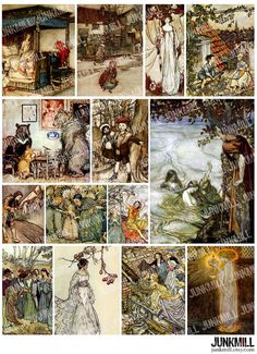 BROTHERS GRIMM  Digital Printable Collage Sheet  by JUNKMILL