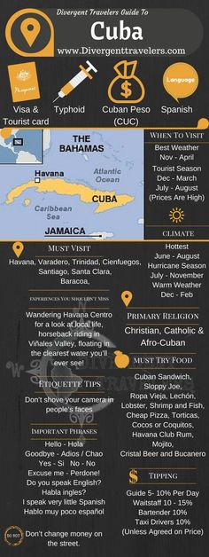 Divergent Travelers Travel Guide, With Tips And Hints To Cuba. This is your ultimate travel cheat sheet to the Cuba. Click to see our full Cuba Travel Guide from the Divergent Travelers Adventure Travel Blog and also read about all of the different adventures you can have in Cuba at http://www.divergenttravelers.com/destinations/cuba/