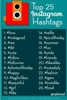 Top 25 hashtags on Instagram