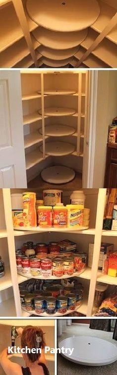 57 Ideas Diy Kitchen Storage Pantry Lazy Susan For 2019 Corner Pantry, Small Pantry, Kitchen Corner, Corner Shelves, Corner Closet, Kitchen Small, Closet Small, Corner Cupboard, Kids Corner