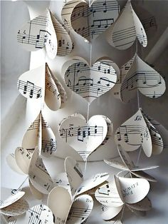 music on white paper fits in nicely with the black and white theme. don't necessarily have to use it as a garland, but you could keep it in mind for other paper projects. would be pretty cute if you used the music from your first dance.
