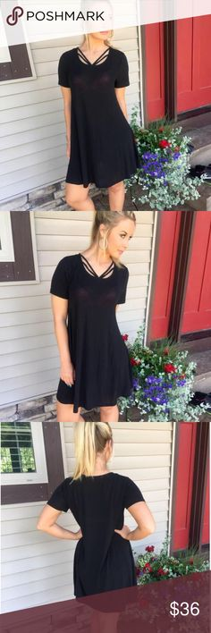 Double Trouble Black Dress Stunning neckline and casual black dress Dresses