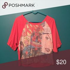 marvel comic graphic semi cropped shirt adore this shirt with skinny jeans, super flattering Forever 21 Tops Tees - Short Sleeve