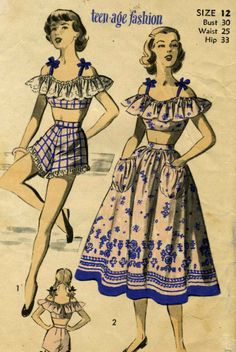 Fashion Illustration: Teen Fashion Cropped off the Shoulder Summer Top, High Waisted Shorts and Full Skirt Sewing Pattern Old Dresses, Vintage Dresses, Vintage Outfits, Vintage Wardrobe, 1940s Fashion, Teen Fashion, Vintage Fashion, Fashion Women, Popular Outfits