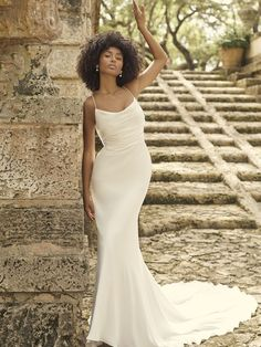 Let's channel a little Marilyn, a little Rita, and a little Athena. This minimalist cold shoulder sleeve wedding dress makes timeless glamour feel like divine inspiration. Popular Wedding Dresses, Top Wedding Dresses, Designer Wedding Dresses, Bridal Dresses, Wedding Gowns, Formal Dresses, Ball Gown Dresses, Mermaid Dresses, Cold Shoulder Wedding Dress