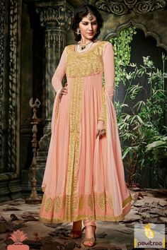 This charming frock style peach georgette designer party anarkali suit is inspired from the ancient art of fashion. Adorned with jari embroidered and lace patti work.  #salwarsuits, #salwarkameez, #anarkalisalwarsuits, #designersalwarsuit, #weddingsuits, #bridalsalwarsuits, #partywearsalwarsuits, #festivalsalwarsuits, #longdresses, #peachsalwarsuits