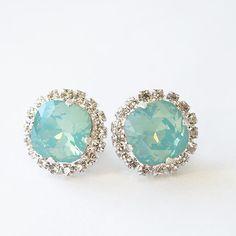 Pacific Opal Stud Earrings Blue Green Clear by bySarahJohanna