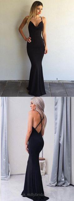 Black Prom Dresses, Mermaid Prom Dresses Long, Open Backs Prom Dresses for Teens, V-neck Formal Dresses 2018 #blackdress #dressesprom