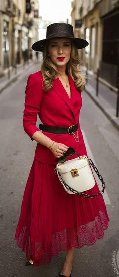 3 Perfect Meeting Spots in Paris // Red blazer with coordinating red lace skirt, white bag with black resin handle, black bolero hat, black kitten heels {Chloe, ALC, Mark Cross, Janessa Leone, Classic style}