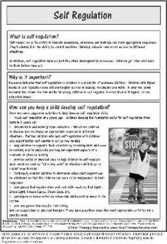 Self Regulation Hand Out | rePinned by CamerinRoss.com