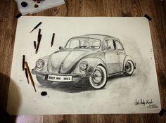 Karakalem araba çizimi