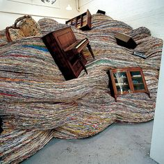 Sculptor David Mach's temporary installations created with old magazines give life to found objects.