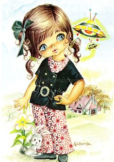 big eyed girl vintage 70's postcards - Google Search