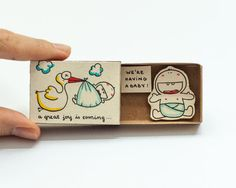 """Stork Baby Announcement Card Matchbox Gift box Message box """"A great joy is coming - We are having a baby"""""""