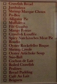 // New Orleans food checklist (for NOLA-themed room)